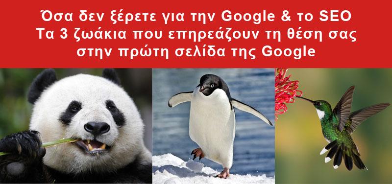 Οι αλγόριθμοι Panda, Penguin και Hummingbird της Google και το SEO