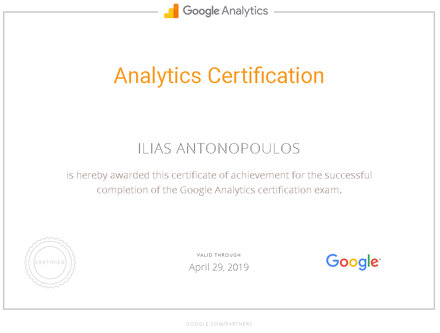Google Analytics Certification Ilias Antonopoulos