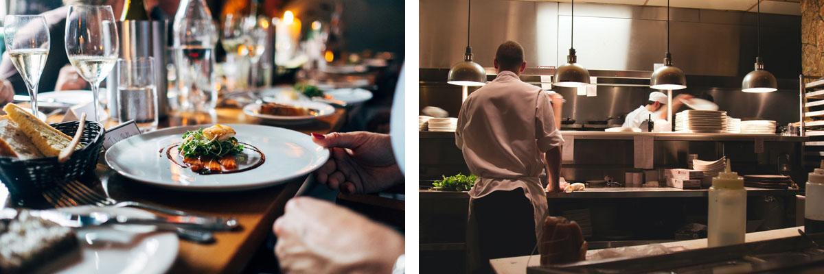 Εστιατόριο πελάτης και κουζίνα