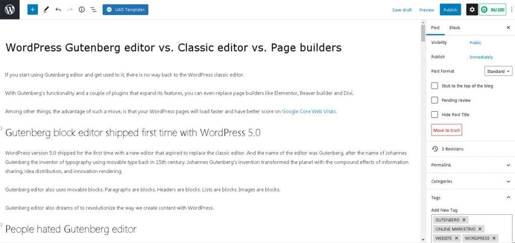 gutenberg editor vs classic editor vs page builders